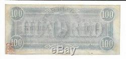 $100 Bank Note CSA 1864 T-65 Confederate Currency Lucy Pickens Extremely Fine