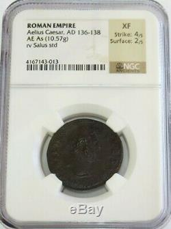 136 -138 Ad Roman Empire Aelius Caesar Ae As Salus Coin Ngc Extremely Fine