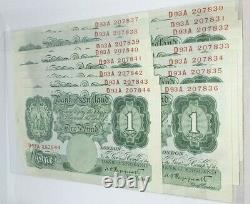 15 CONSECUTIVE NUMBER D93A PEPPIATT £1 GREEN NOTES EXTREMELY FINE P369a 1948-50