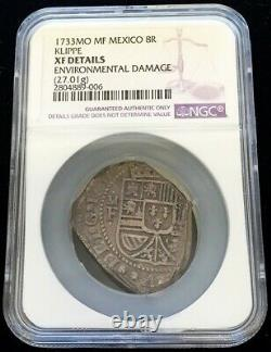 1733 Mo Mf Silver Mexico Klippe 8 Reales Coin Ngc Extremely Fine