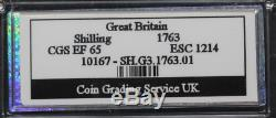 1763 Northumberland Shilling slabbed and graded CGS 65 (Good Extremely Fine)