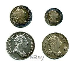 1766 Maundy Set (1d, 2d, 3d, 4d), Extremely Fine, Great Britain, Rare