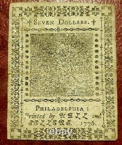 1776 $7 Continental Currency Note Nov 2 1776 Issue Choice Extremely Fine
