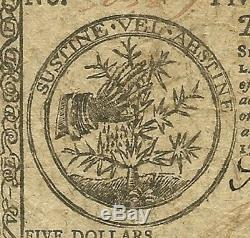1777 $5 Continental Currency Baltimore Issue Lovely Crisp Extremely Fine