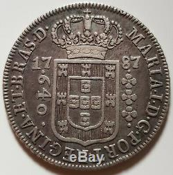 1787 Silver Brazil 640 Reis Maria I Coin Extremely Fine Condition Free Shipping