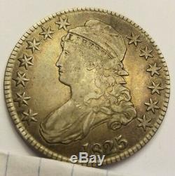 1825 Capped Bust Half Dollar Extremely Fine XF Toned Orange Stunner See pics