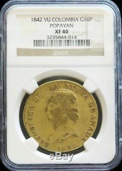 1842 Vu Gold Colombia 16 Pesos Diez I Seis Ngc Extremely Fine 40 Popayan Mint