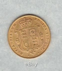 1849 Overstruck Date Victoria Young Head Gold Half Sovereign Near Extremely Fine