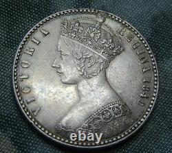 1849 Victoria Gothic Godless Florin Good Extremely Fine. Super coin