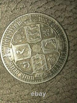 1853 QUEEN VICTORIA GOTHIC CROWN -Extremely Fine Condition Genuine