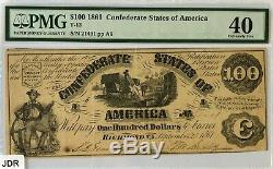 1861 $100 One Hundred Dollar Confederate Note PMG Extremely Fine 40