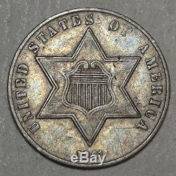 1861 Three Cent Silver, Type 3, Choice Extremely Fine, 180 Degree Die Rotation