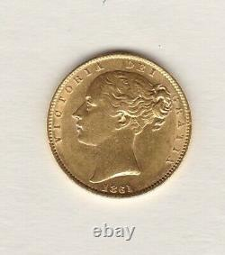1861 Victoria Shield Back Gold Sovereign In Extremely Fine Condition