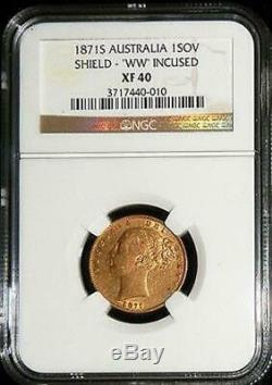 1871 S Gold Australia Shield Sovereign Ngc Extremely Fine 40 Incused'ww