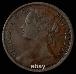 1874 Great Britain Penny Queen Victoria Bronze Coin Extremely Fine