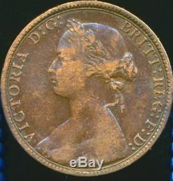 1874 HALFPENNY Victoria Obv 9 Rev K Extremely rare R16 Fine Freeman 317