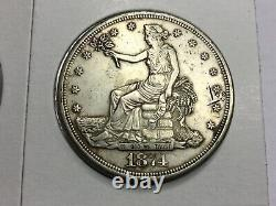 1874-S Trade Dollar in extremely fine chop