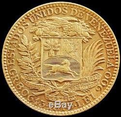 1875 Gold Venezuela 8.0645 Gram 5 Venezolanos Simon Bolivar Coin Extremely Fine