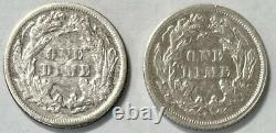1875 P & S Seated Liberty Dime 10c Extremely Fine (XF) 2 Coin Lot