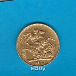 1875m Victoria Young Head Gold Sovereign In Near Extremely Fine Condition