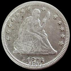 1876 CC Silver Us Seated Liberty Quarter Dollar Coin Extremely Fine Condition