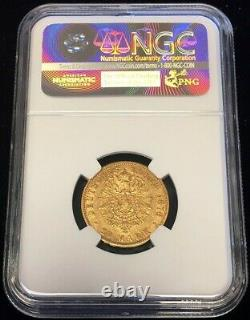 1876 E Gold German State Saxony 20 Mark Albert Coin Ngc Extremely Fine 45