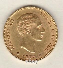 1877 De-m Spain Gold 25 Pesetas In Extremely Fine Condition