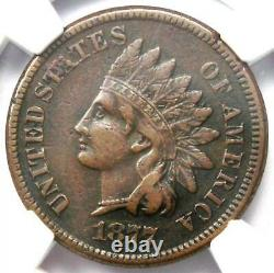 1877 Indian Cent 1C NGC XF Details (EF- Extremely Fine) Rare Key Date Penny