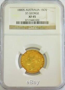 1880 S Gold Australia Young Head Sovereign Saint George Ngc Extremely Fine 45