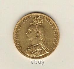 1887 Gold Five Pounds Coin Victoria Jubilee Head Good Extremely Fine Condition