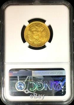1887 Gold Venezuela 20 Bolivares Simon Bolivar Coin Ngc Extremely Fine 40