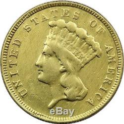 1887 Three Dollar Gold $3, Extremely Fine XF. Cleaned. JUST 6000 MINTED