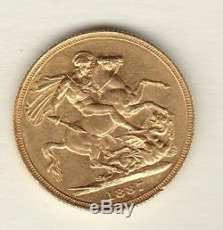 1887s Victoria Young Head Gold Sovereign In Extremely Fine Condition