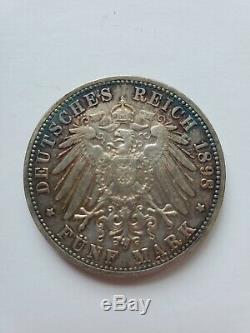 1898-G Silver F. G. Von Baden German Empire 5 Marks in Extremely Fine Condition