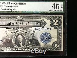 1899 $2 Silver Certificate Bank Note Fr#256 Pmg Choice Extremely Fine 45 Epq