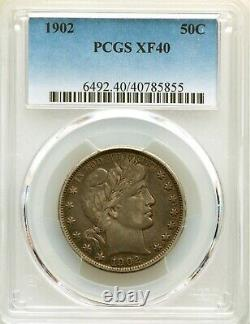 1902 P PCGS XF40 Barber Silver Half Dollar EF40 Type Coin Extremely Fine 50c
