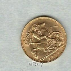 1908 Edward VII Gold Half Sovereign In Good Extremely Fine Condition