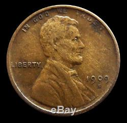 1909 S United States Lincoln Wheat Cent Coin Extremely Fine Condition