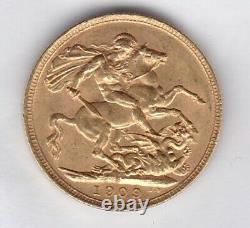 1909s Edward VII Gold Sovereign In Extremely Fine Condition