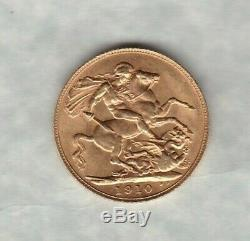1910 Edward VII Gold Sovereign In Extremely Fine Condition