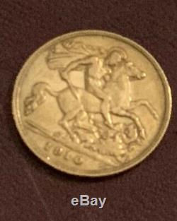 1910 edward VII gold half sovereign, extremely fine condition
