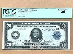 1914 $20 Federal Reserve Note Philadelphia Fr. 974 PCGS 40 Extremely Fine