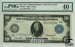 1914 US $10 Federal Reserve Note Cleveland FR#919a PMG 40 Extremely Fine