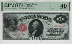 1917 $1 Legal Tender Red Seal Note Fr. 37 Pmg Extremely Fine Xf Ef 40 (9731a)