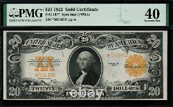 1922 $20 Gold Certificate FR-1187 STAR NOTE Graded PMG 40 Extremely Fine