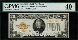 1928 $20 Gold Certificate FR-2402 Graded PMG 40 Extremely Fine