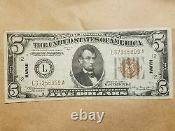 1934 A Hawaii $5 Silver Certificate World War 2 WWII WW2 EXTREMELY FINE EF