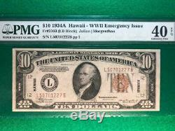 1934a $10 Hawaii-wwii Emergency Issue Pmg 40 Extremely Fine Epq #1505158-054