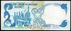(1976) THE QATAR MONETARY AGENCY 50 RIYALS NOTE P 4a EXTREMELY FINE