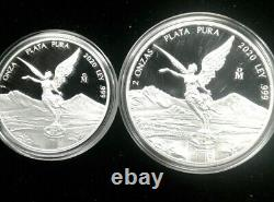 2020 1oz and 2 oz. 999 Fine Silver Mexican Libertad Proof -extremely low mintage